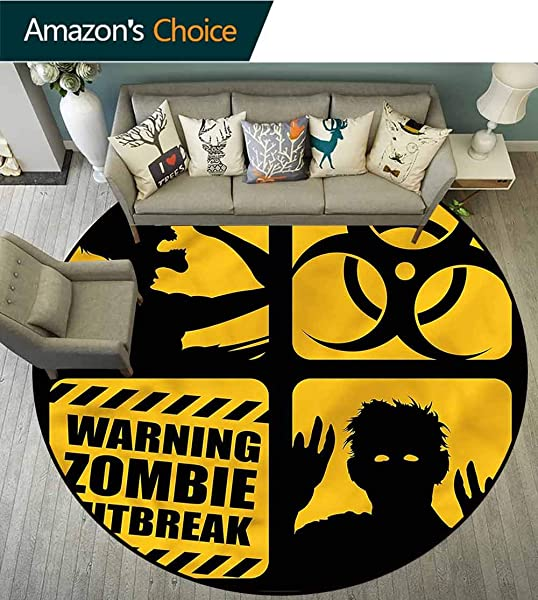 RUGSMAT Zombie Modern Simple Round Rug Toxic Sign Outbreak Warning Super Soft Living Room Bedroom Home Shaggy Carpet Diameter 35