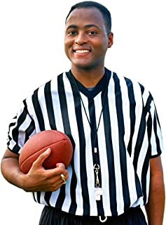 Crown Sporting Goods Men's Official Striped Referee/Umpire V-Neck Jersey