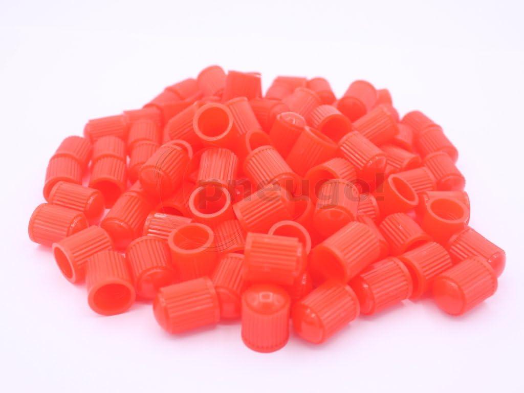 100 Ventilkappen / Staubkappen / Ventilkäppchen VG8 rot für PKW, LKW, Fahrrad, Motorrad mit PKW Ventil (Schrader)