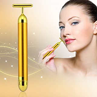 24k Golden Energy Beauty Bar Pulse Face Massager, T-shape vibration Massager, lastest Beauty Tool anti Wrinkles
