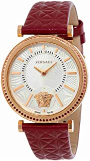 Versace V-Helix Silver Dial Burgundy Leather Ladies Watch VQG070015