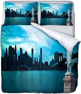 AHKGGM Parure de lit avec Housse de Couette avec Deux Taies d'oreiller 3 Pièce 220x240 cm Statue Bleue de la liberté Parur...