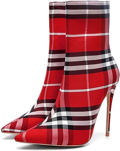 Personnalité Talons Aiguilles Talons Hauts Bottines à Carreaux Bottes Grandes Chaussures pour Femmes en Tissu Fermeture à GlissièRe Fermeture à Tube Pointu Martin Bottes
