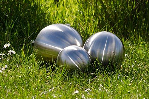 Köhko 3er Edelstahlkugeln-Set-05 Ø 6-12-18 cm Dekokugel aus gebürstet-matten Edelstahl 6-12-18