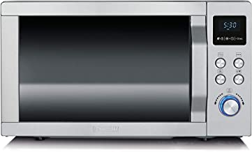 SEVERIN Four Micro-ondes, Gril, Chaleur tournante 2 150W, 25L, 10 niveaux de puissance, Plaque à pizza (Ø 28 cm), Inox, MW...