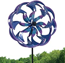 Bits and Pieces - Wind Powered LED Sea Breeze Wind Spinner Decorative Lawn Ornament Wind Mill - SpectacularKinetic Garden Spinner with Light Show