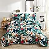 Summer Tropical Bedding Green Palm Leaves Flowers Quilts Set Full/Queen Size,3Pcs Lightweight Rainforest Bedspreads Jungle Reversible Coverlet Sets Pillow Shams