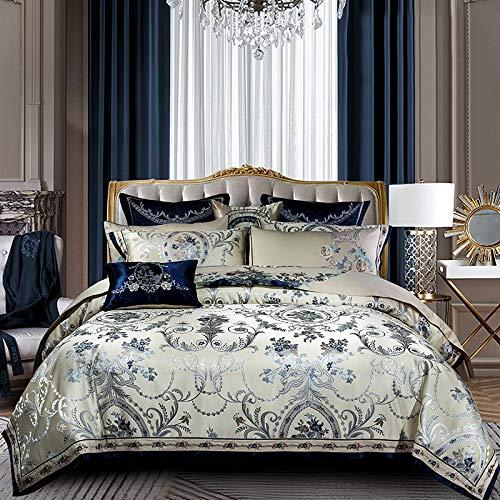 Wenhu Blaue Farbe Europa königliche Bettwäsche-Sets Königin King Size Satin Jacquard Bettbezug Bettdecke Bettwäsche Set Pillowsham,King Size 4pcs