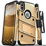 ZIZO Bolt Series for iPhone X Case Military Grade Drop Tested with Screen Protector, Kickstand and Holster iPhone Xs Gold Black