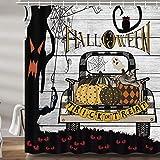 JAWO Halloween Truck Shower Curtains for Bathroom, Holiday Scary Owl Fall Pumpkin Fabric Shower Curtain Set, Farmhouse Autumn Bathroom Accessories Decor, Hooks Included (69W X 72H)