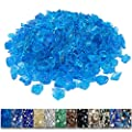 Grisun Caribbean Blue Fire Glass for Fire Pit, 9 1/2 Pounds 1/2 Inch Tempered Glass Rocks for Natural or Propane Fireplace, Safe for Outdoors and Indoors Firepit Glass