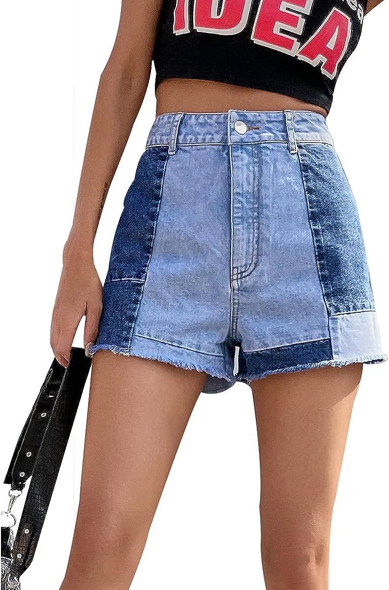 HBER Patchwork Jean Shorts Women Frayed Raw Hem Straight Leg Loose Fit A Line Denim Shorts