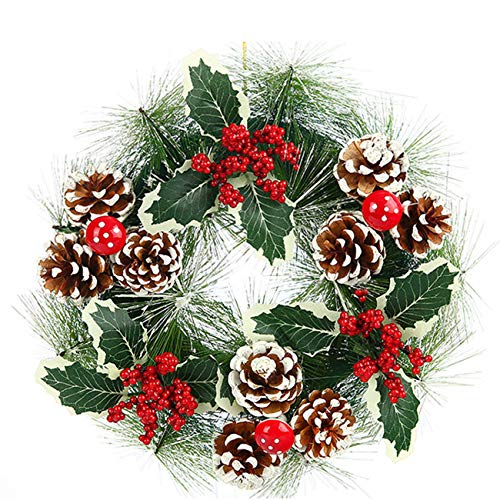 """Acronde 12"""" Christmas Wreath Berry Wreath Handmade Floral Front Door Rustic Wreath Flocked with Mixed Decorations Christmas Decorations"""