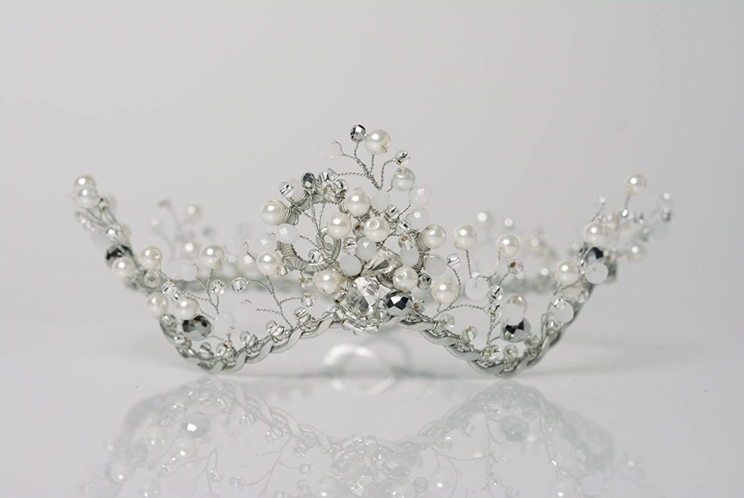Handmade Designer Wire Tiara With Beads Women's Hair Accessory Snow Queen