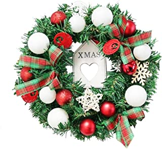 Warmoor Christmas Wreath 12 Inch with Hanging Wooden Sign, Handmade Decorative Wreath Ornaments Christmas Party Decor, Window Front Door Decoration, Home Hotel School Party Adornment