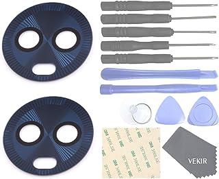 غطاء عدسة زجاجية خلفية من فيكير مع شريط لاصق لموتورولا موتو G6 بلس (أزرق أزرق)