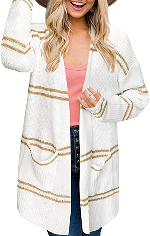 BRUBOBO Womens Open Front Cardigans Color Block Striped Long Sleeve Chunky Knit Sweaters with Pockets