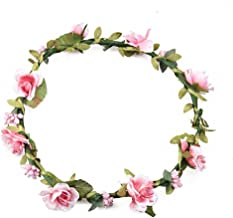 Floral Fall Boho Headband Flower Crown Festival Wedding Beach Hair Wreath F-01 (Purple) (Pink)