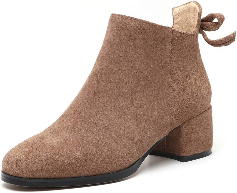 AdeeSu Womens Chunky Heels Zipper Imitated Suede Boots SXE04236