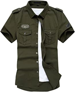 Gihuo Men's Short Sleeve Military Button Down Cargo Shirt