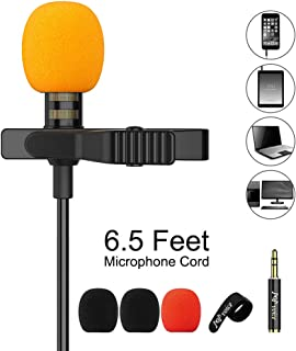 PoP voice Upgraded Lavalier Lapel Microphone, Omnidirectional Condenser Mic for Apple iPhone iPad Mac Android Smartphones, YouTube, Interview, Studio, Video, Recording,Noise Cancelling Mic