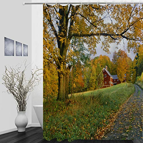 Country Autumn Rustic Shower Curtain Vermont Country Side of with Autumn Sugar Maple with Rustic Barn Bathroom Waterproof Polyester Shower Curtain for Bathtub Showers 72Wx72L