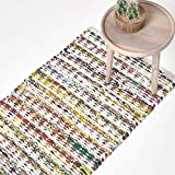 Homescapes Chindi Tappeto Tappeto Chindi Riciclato Diamante Modello Tessuto, Cotone, Multi, 66 x 200 cm