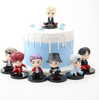 7PCS BTS کیک toppers fingure شخصیت ها مجموعه ای از Action Figure Toys BTS کاپ کیک تاپرز و مزایای مهمانی برای تامین کننده مهمانی BTS