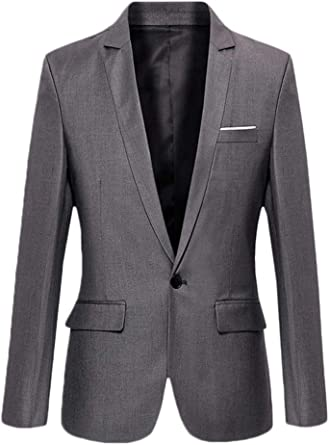Mens Slim Fit Casual One Button Suits Coat Solid Blazer