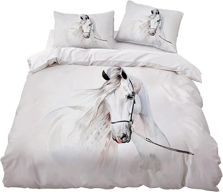 MKHFUW Juego de ropa de cama para caballos con impresión en 3D, impresión de caballo individual, doble, king size, ropa de cama para niños y niñas (135 x 200 cm)