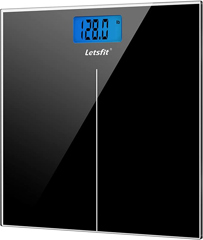 Letsfit Digital Body Weight Scale Bathroom Scale With Large Backlit Display Step On Technology High Precision Measurements 400 Pounds 180kg Max 6mm Tempered Glass