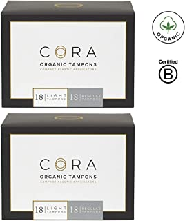 Cora Organic Cotton Tampons with BPA-Free Plastic Compact Applicator; Chlorine & Toxin Free - Variety Pack - Light/Regular (72 Count) (Packaging May Vary)