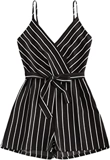 Brittany-Breanna Striped Female Rompers Bow Belt V-Neck Short Wide Leg Straps Sleeveless Summer Beach Jumpsuits