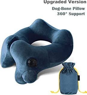 Hyphenx Neck Pillow Inflatable Travel Pillow Dog-Bone Shape for Airplanes Cars with Washable Cover Soft Neck Support(Green)