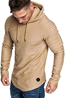 OrchidAmor Fashion Men's Autumn Winter Slub Cotton Pleats Slim Fit Raglan Long Sleeve Hoodie Top Blouse