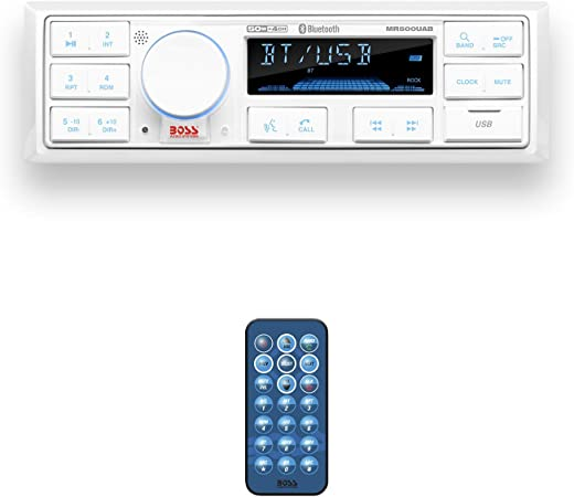 BOSS Audio Systems MR500UAB Marine Radio Receiver – Bluetooth Audio Streaming and Hands-Free Calling, USB Port, Weatherproof, Digital Media MP3...