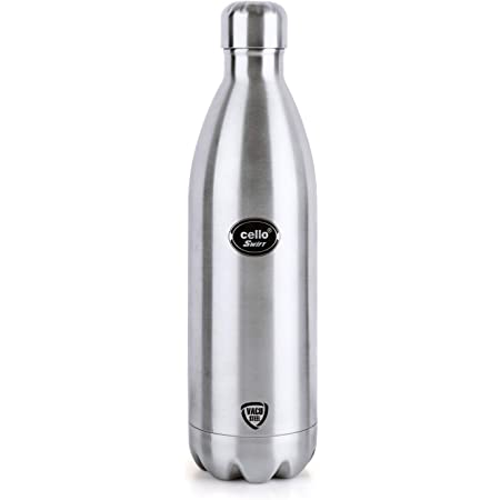 Cello Swift Stainless Steel Double Walled Flask, Hot and Cold, 1000ml, 1pc, Silver