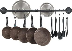 OROPY Utensilios de Cocina del Soporte de la Pared, 100cm Planchar del Barra Colgador Que cuelga el Estante con 14 Ganchos (Negro)