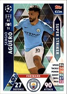 2018-19 Topps UEFA Champions League Match Attax Super Strikers #SS5 Sergio Aguero Manchester City FC Official Futbol Soccer Card