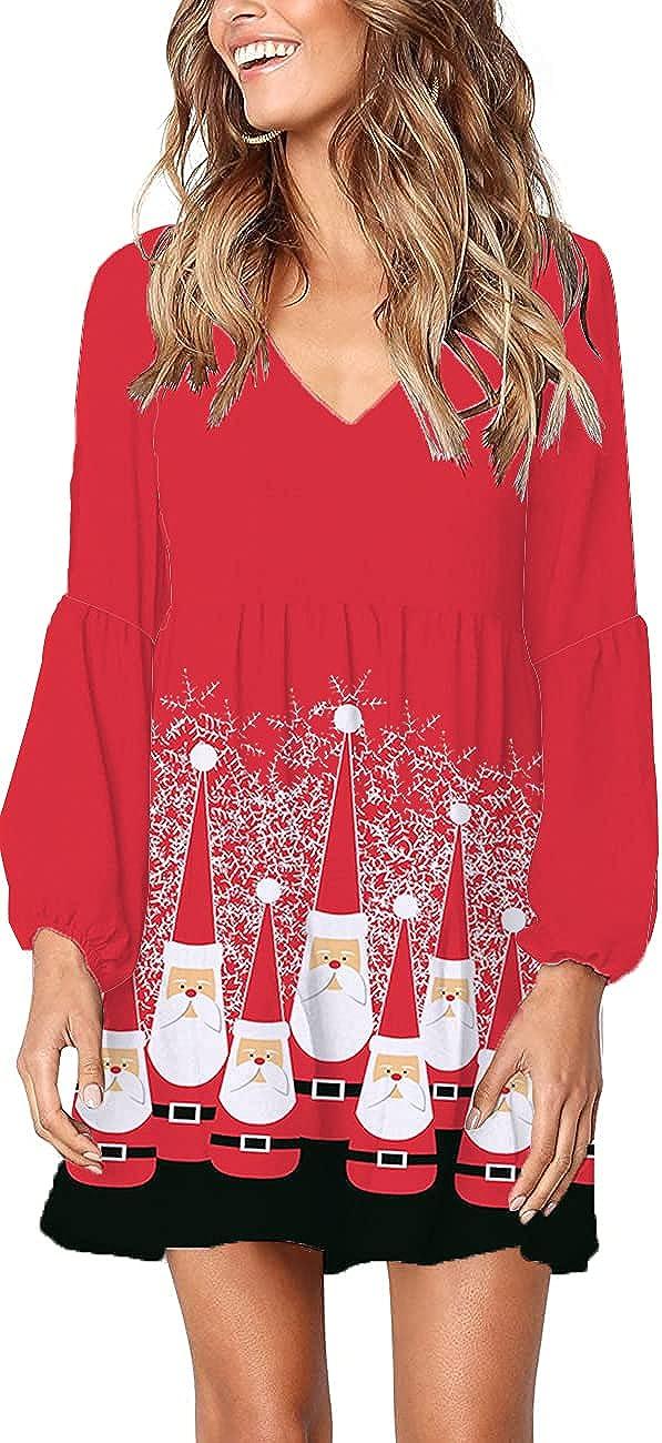 Roshop Women's Fashion Beautiful V-Neck Long Sleeve Half Length Dress