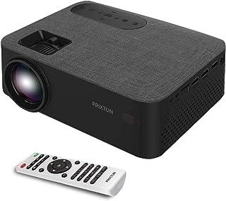 PRIXTON Lumière - Proyector portatil / Proyector LED Portable Full HD, 5.000 Lúmenes, Conexión HDMI, USB, MicroSD, Aux in, AV in, Altavoces Integrados y Mando a Distancia Incluido