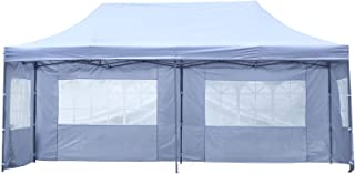 Outdoor Basic 10x20 Ft Wedding Party Canopy Tent Pop up Instant Gazebo with Removable Sidewalls and Windows (White 4 Walls)