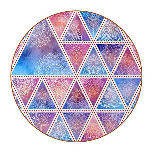 Posavasos para Bebidas Triángulo Morado geométrico Coasters Juego de 6 impresión Mug Mats para la Cocina Salón Bar Decoración Regalos de Diseño Creativo 11x11 cm