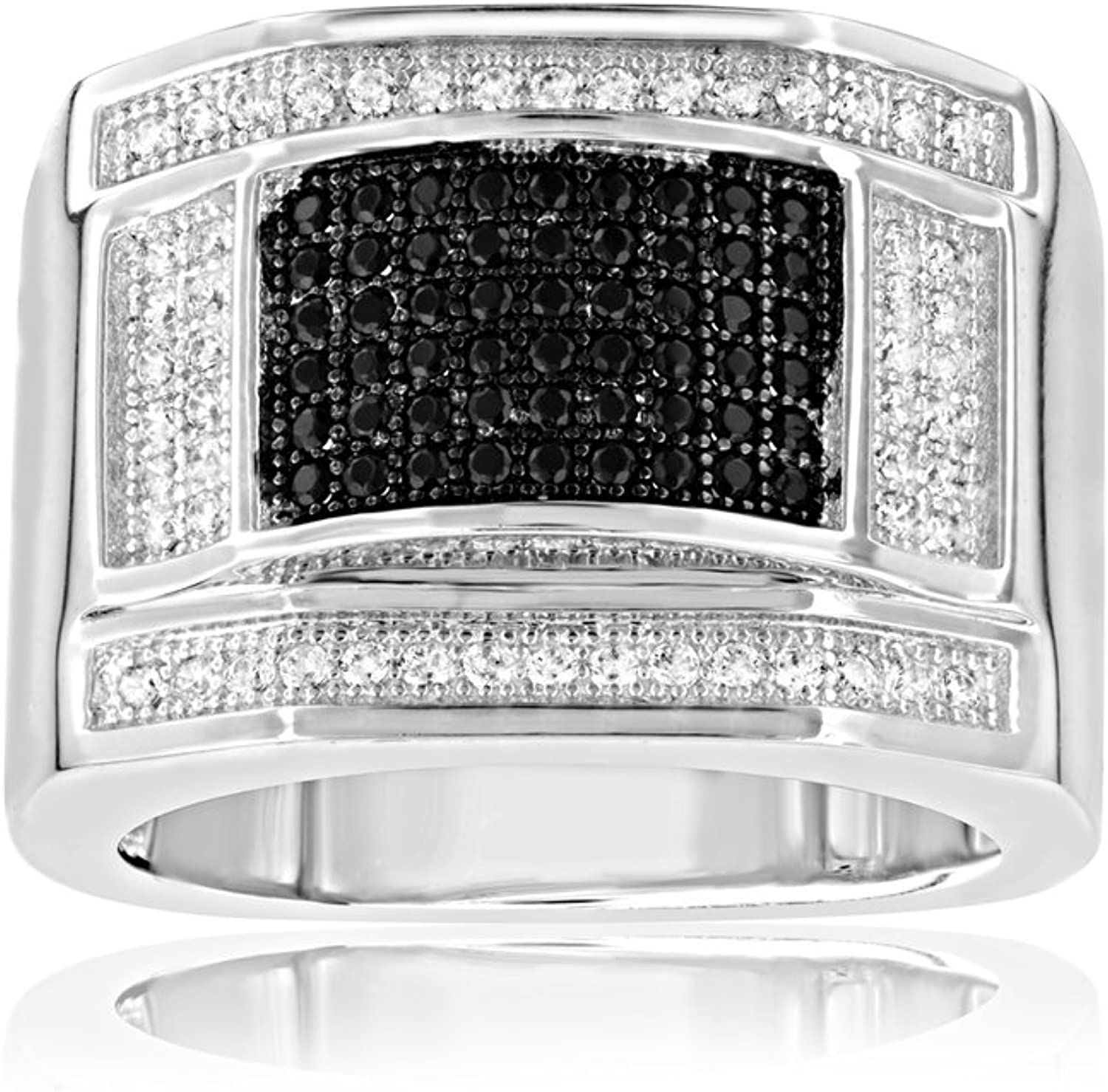 108 Black and White Swarovski Crystal Zirconia Signet Ring and 925 Silver  T8 CRY J403 X  T56  bluee Pearls