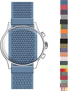 Nylon Fabric Watch-Band Sport Loop Replacement Woven Watch Belt Strap Breathable with Adjustable Fast Adhesive Closure Universal Wirst-Band Bracelet (Ocean Blue, 20mm)
