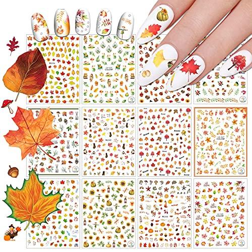 EBANKU Pegatinas de Hojas de Otoño para Uñas, 12 Hojas 3D Nail Art Stickers Pegatina Uñas Calcomanías Autoadherentes Nail Art Decoración DIY Etiqueta Decoraciones