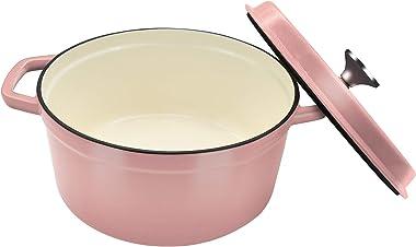 Horno holandés de 4 cuartos de galón, horno holandés antiadherente rosa, olla de horno holandés con tapa, horno holandés de h