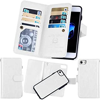 iPhone 6S Plus/6 Plus Wallet Case, SOUNDMAE Magnetic Detachable Premium PU Leather Wallet Case, 2in1 Removable Protective Flip Cover With Card Slot Cash Pocket Photo Frame and Wrist Strap [White]