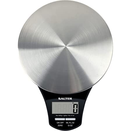 Salter Balance de cuisine electronique digitale ronde en acier inoxydable - Pesez les aliments avec précision jusqu'à 5 kg, liquides en ml et en fl. Oz. - Garantie 15 ans