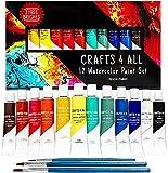 Crafts 4 All Acuarelas profesionales - Set de pintura de acuarela liquida para adultos y niños; estuche de pinceles y paleta de pinturas acuarelables de 12 colores